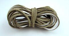 Leather stripe flat White 2mm / 5m