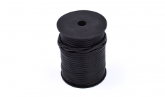 Leather stripe round black 4mm /roll 25m