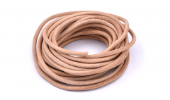 Leather stripe round natural 4mm /5m